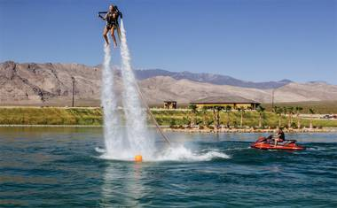 The hydroflight experience—which allows riders to soar above the Spring Mountain Motor Resort & Country Club lake in Pahrump—is the latest rage in water sports.