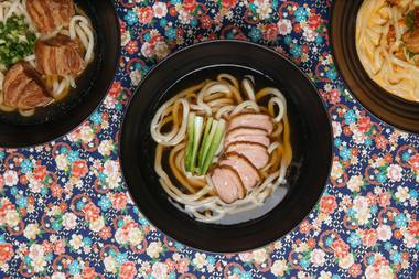 Instead of sushi or ramen, irresistibly slurpable wheat noodles are the star of this show.