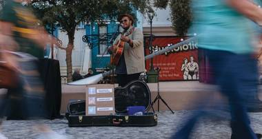 He's set to release his first EP next month and still playing a weekly gig on Las Vegas Boulevard.