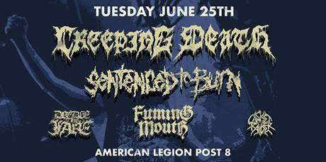Events Calendar - Creeping Death, Sentenced to Death, Fuming Mouth