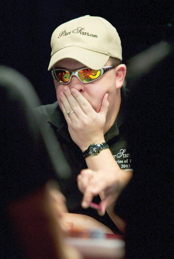 World Series of Poker player Chris Moneymaker studies the table Friday, May 23, 2003, at Binions Horseshoe.