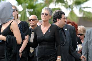 Jamie Lee Curtis attends the funeral of her father, entertainment legend Tony Curtis, in Las Vegas on Oct. 4, 2010.