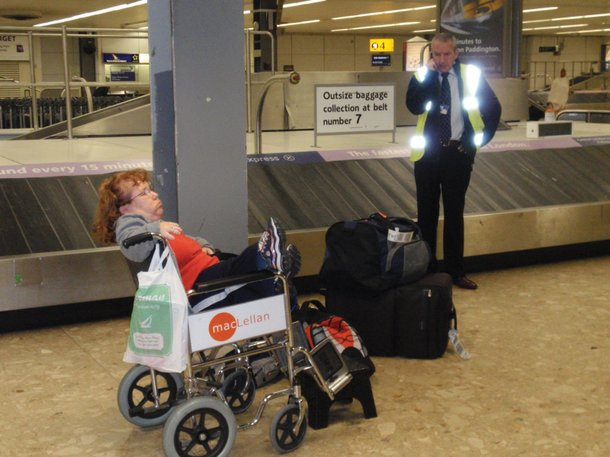 Davis at Heathrow airport. Her Elite Traveller motor scooter took an hour and a half to materialize.