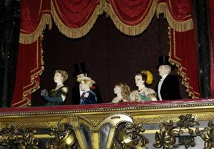 The opera boxes -- those people are not real people -- in the stunning Phantom Theater at The Venetian.