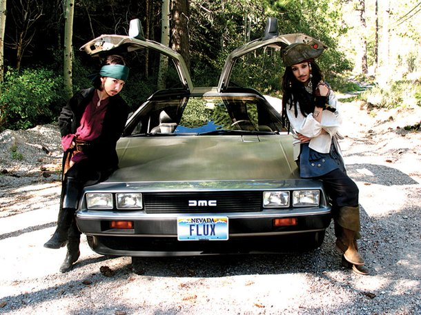 Depp and Depp with the time-traveling DeLorean
