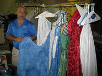 Dan Del Rossi and <em>Spamalot's</em> famed reversible wedding gown.