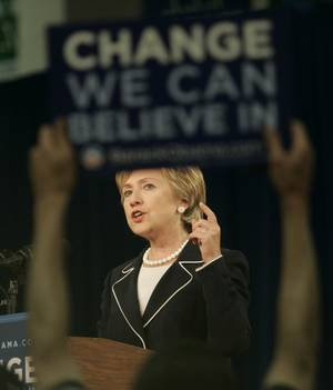 Hillary Clinton, representing  Change You Can Believe In.