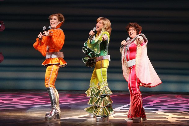 Vicki Van Tassel (left), distinctively costumed with Carol Linnea Johnson and Robin Baxter, in Mamma Mia! at Mandalay Bay.