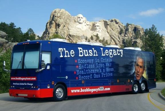The Bush Legacy Tour Bus is criss-crossing the country this summer, bringing AC and anti-Bush exhibits to people from Maine to Texas.
