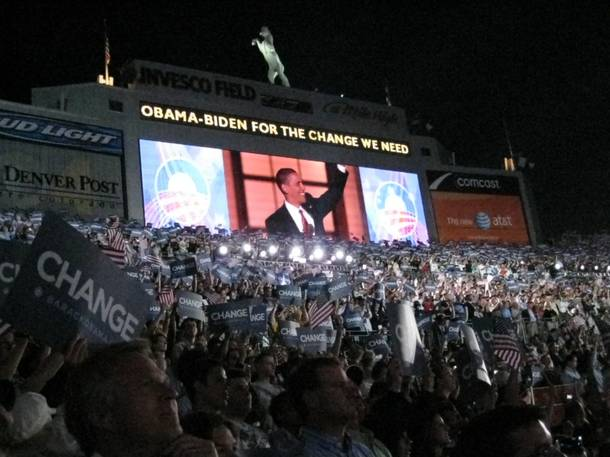Barack Obama, 2008, INVESCO Field.