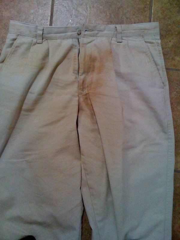 The infamous befouled pants.