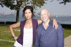 "Padma Lakshmi and Tom Colicchio of Bravo's <em>Top Chef</em>. They look friendly enough until it's ""pack your knives and go"" time."