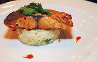 Pickle-spiced mahi mahi with green pea risotto by Origin India.