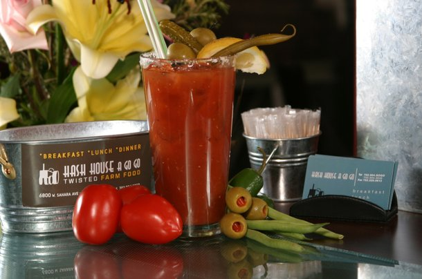 The uber-classic Bloody Mary at Hash House a Go Go comes served in a salt- and pepper-rimmed pint glass, is spicy as all get out and is accompanied by a bounty of assorted fresh and pickled veggies.