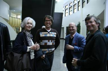 LA Times art critic and curator for LA Now at the LVAM, David Pagel (second from left) selected the art for this exhibit first and structured it second.