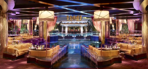 XS, the new nightclub at Encore from Victor Drai, boasts opulent decor with stunning design touches like intricate mosaics in the bathrooms and a combination disco ball and chandelier.