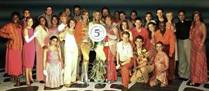 The cast of <em>Mamma Mia!</em> on its fifth anniversary.