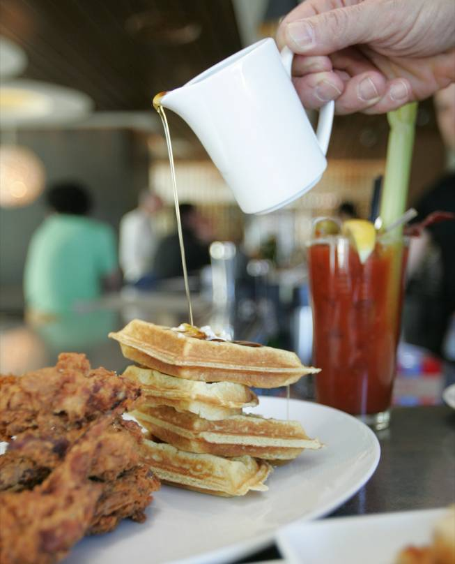 Chicken and waffles at Simon's Sunday brunch, and that's just for starters.