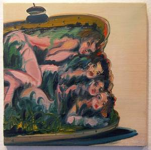 """Girl Sandwich"" (oil on wood) from Jeff Britton's <em>Guilty Pleasures</em> exhibit at Trifecta Gallery."