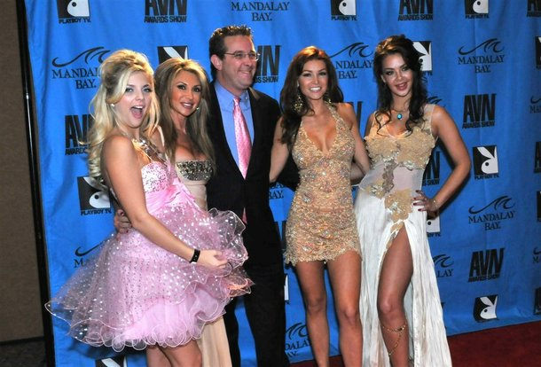 Penthouse owner Marc Bell and Penthouse Pets on the red carpet at the 2009 AVN Awards at Mandalay Bay.