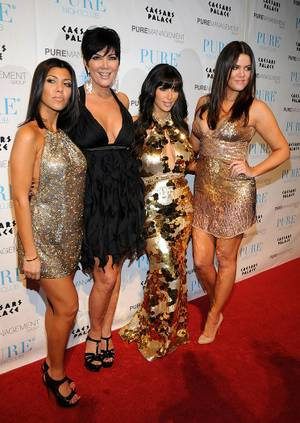 Kourtney Kardashian, matriarch Kris Jenner, Kim Kardashian and Khloe Kardashian at Pure.
