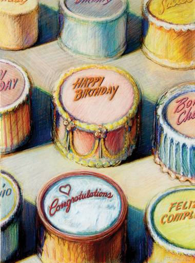 "Wayne Thiebaud's ""Celebration Cakes"" (pastel on paper)."