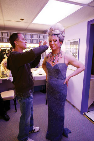 Frank Marino gets a touch-up before performing in his show, <em>Divas Las Vegas</em>.