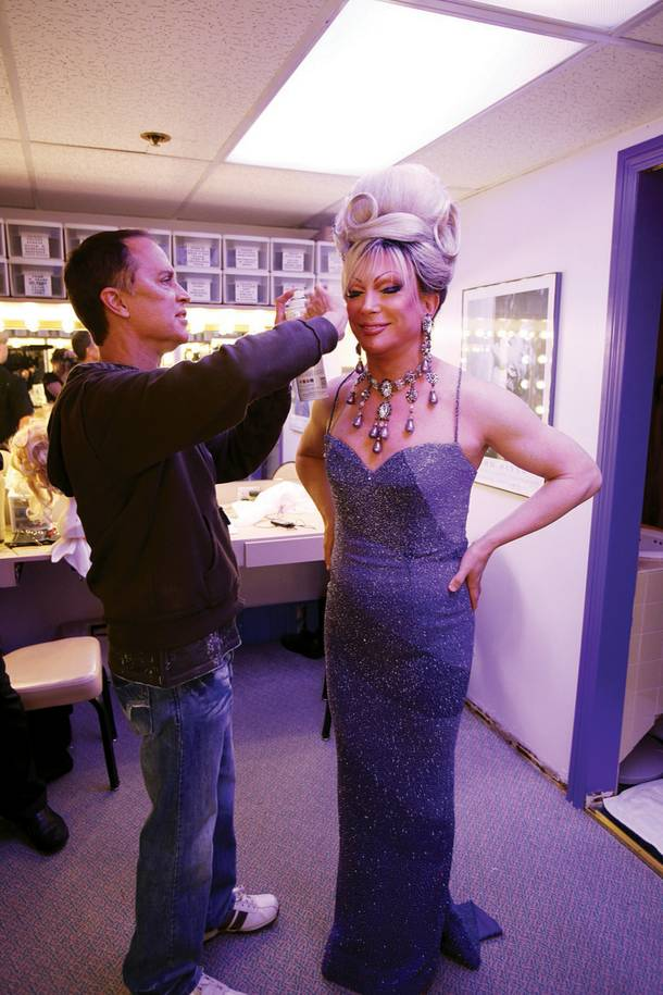Frank Marino gets a touch-up before performing in his show, Divas Las Vegas.
