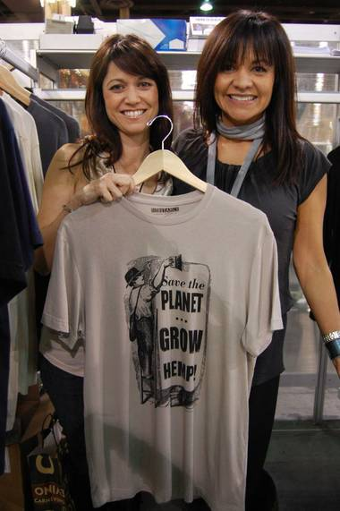 Substance founders Patricia Zeto (left) and Linda Werner (right) pose with one their hemp-made T-shirts at PROJECT this past week. The two started their hemp clothing line in August 2008 to inform consumers of the environmental benefits on the U.S.-banned plant.