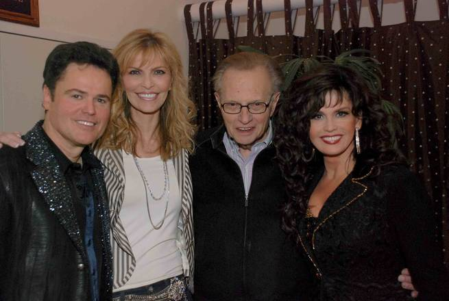 Larry King and Shawn Southwick King with Donny and Marie Osmond.