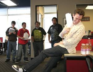 Erich Bergen, who plays Bob Gaudio in <em>Jersey Boys</em> at the Palazzo, laughs as he offers acting advice to the Boys & Girls Club members acting in <em>Where Da Girls At?</em>, a short film being produced as part of CineVegas Clubhouse.