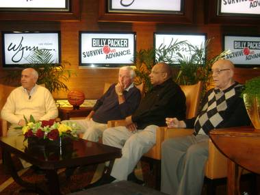 Billy Packer, left, is joined by Bobby Knight, George Raveling and Jerry Tarkanian at the Wynn for filming of Packer's March Madness sports show Billy Packer's Survive and Advance in March 2009.