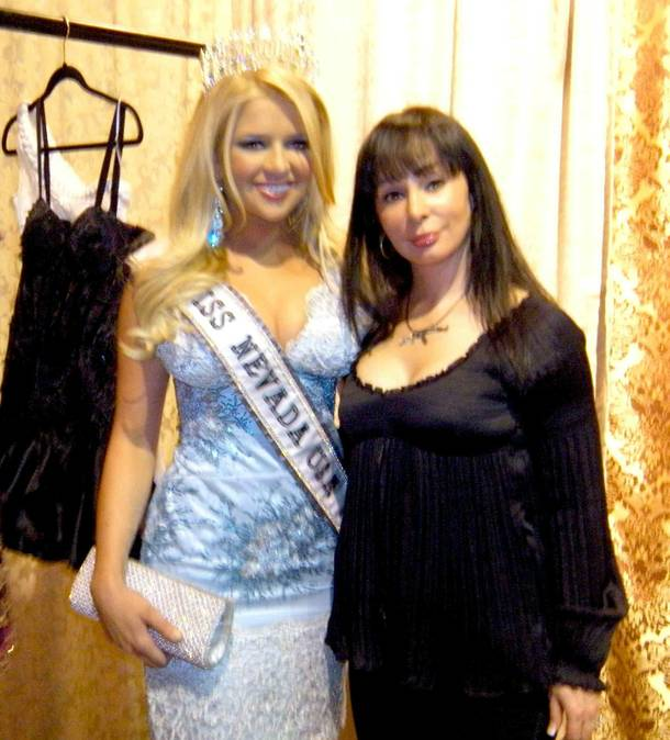 2009 Miss Nevada USA Georgina Vaughan and local designer Lana Fuchs in March 2009.