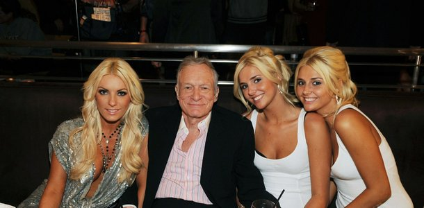 Crystal Harris, Hugh Hefner and the Shannon twins -- Kristina and Karissa -- at N9NE Steakhouse in the Palms.