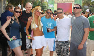 At the Beatport Pool Party, March 27. Left to right: Deanna Rilling, Jordan Stevens, Casey Rotary, Eric McKeon, Nick TerraNova (aka Starkillers) and Austin Leeds.