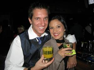 Our host, Tobin Ellis, with fiance Kristen Schaefer, BarMagic of Las Vegas.