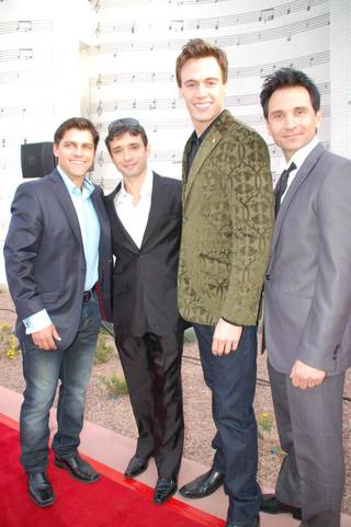 Jersey Boys cast members Deven May, Rick Faugno, Erich Bergen and Travis Cloer.