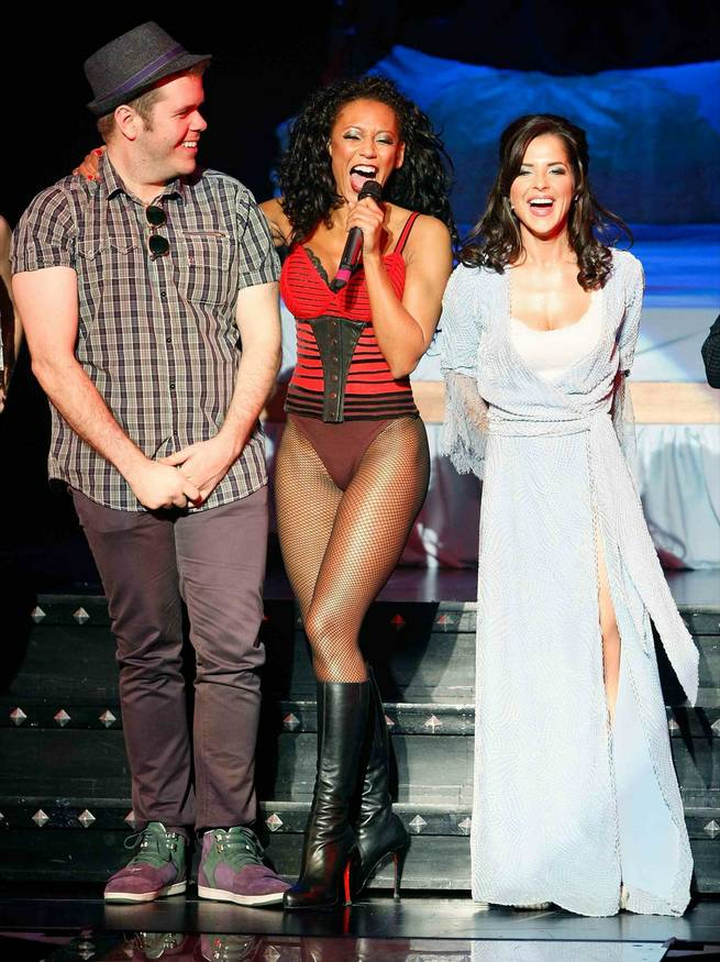 Perez Hilton is quizzed onstage by Mel B while Kelly Monaco observes in <em>Peepshow</em>.
