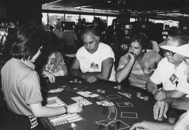1986: Curtis, second from right, plays against Celine Dion's husband/manager, Rene Angelil, second from left.