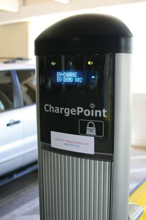 An electric-car charging station at Rampart Casino.