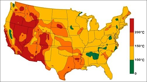 A map of geothermal resources across the United States.
