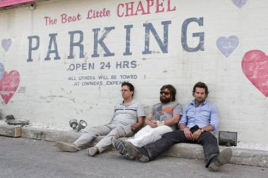Ed Helms, Zach Galifianakis and Bradley Cooper in The Hangover.