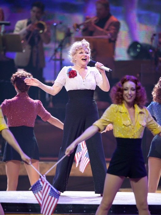 Bette Midler celebrates the 100th performance of The Showgirl Must Go On at The Colosseum in Caesars Palace.