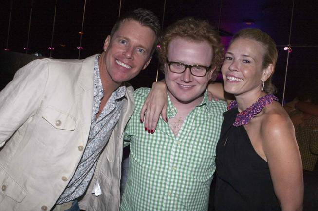 Comedians Chris Franjola, Brad Wollack and Chelsea Handler at Body English in the Hard Rock Hotel.