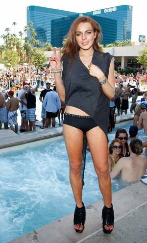 Lindsay Lohan at MGM's Wet Republic.
