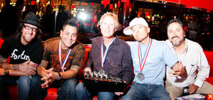 ABDJ Winners: (from left) Scotty Boy, Skribble, Christopher Lawrence, Qbert and Pioneer Pro DJ's Karl Detken at Rouge in Las Vegas, 2008.