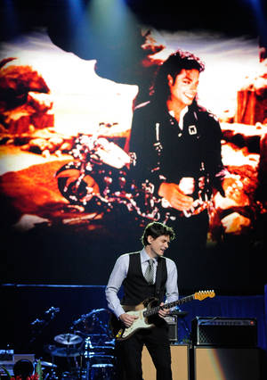 John Mayer performs at Michael Jackson's public memorial service at Staples Center on July 7, 2009, in Los Angeles.
