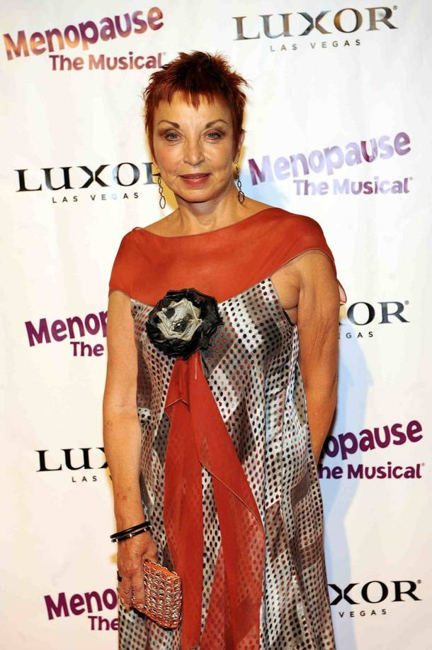 Writer Jeanie Linders arrives at the premiere of her show Menopause the Musical at the Luxor.