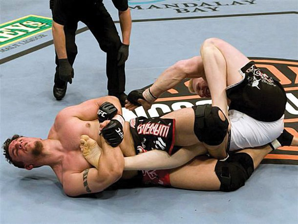 Mir submits Lesnar at UFC 81 in February 2008.