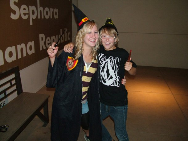 Ashley and Nick Grove in their homemade wizard duds.